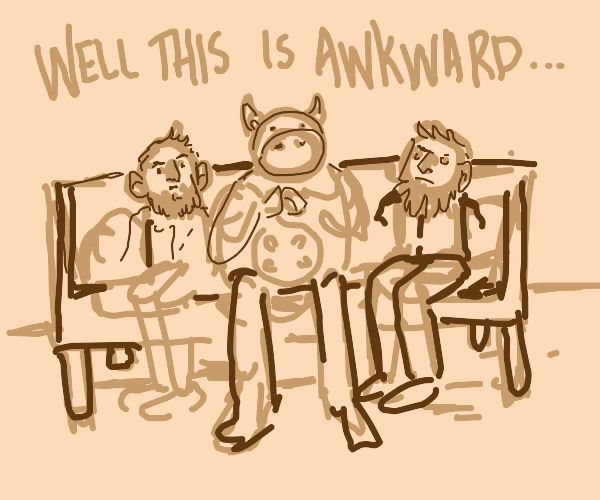 two humans and a cow on a sofa
