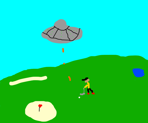 UFO uncloaks, interrupts golf game