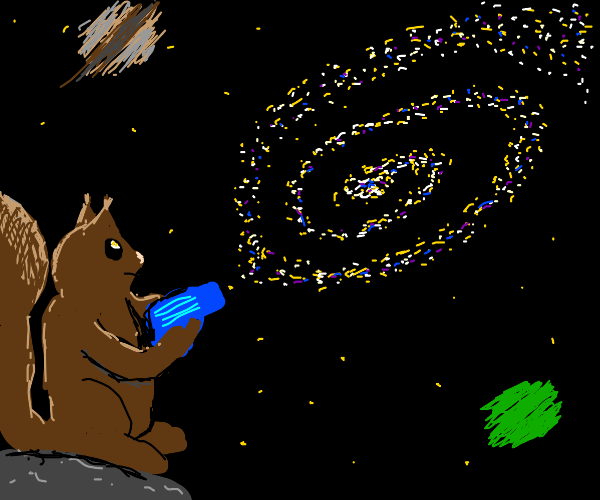Squirrel shoots the galaxy with a water gun