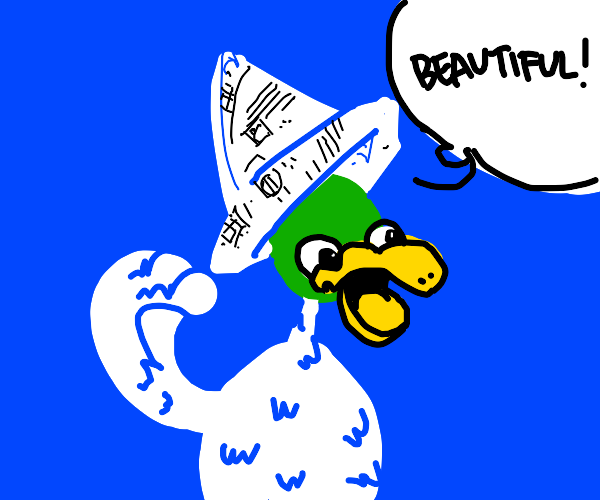 Duck Feels beautiful with his new paper hat