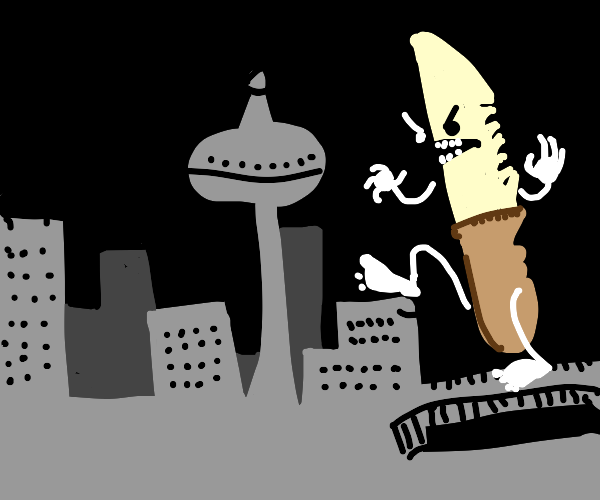Giant Bipedal knife destroying the city