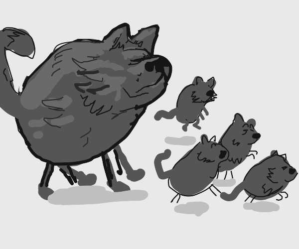 Wolf Dad is taking a walk with his kids
