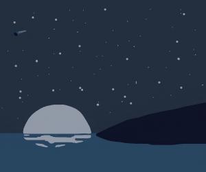 gray island at night, simplistic