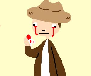 Cowboy bleeding from the eyes