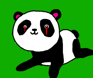 Cute panda with bleeding eyes
