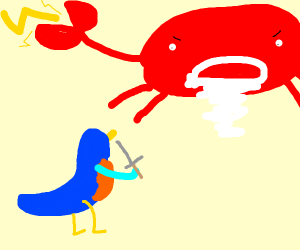 bluebird confronts the crab god