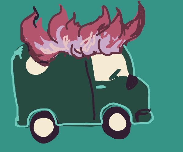 Van on Fire