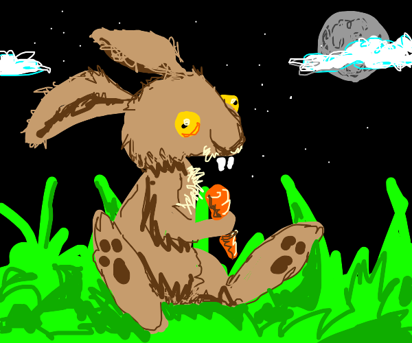 were-rabbit eating lunch