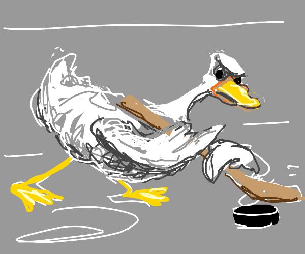 Goose playing hockey