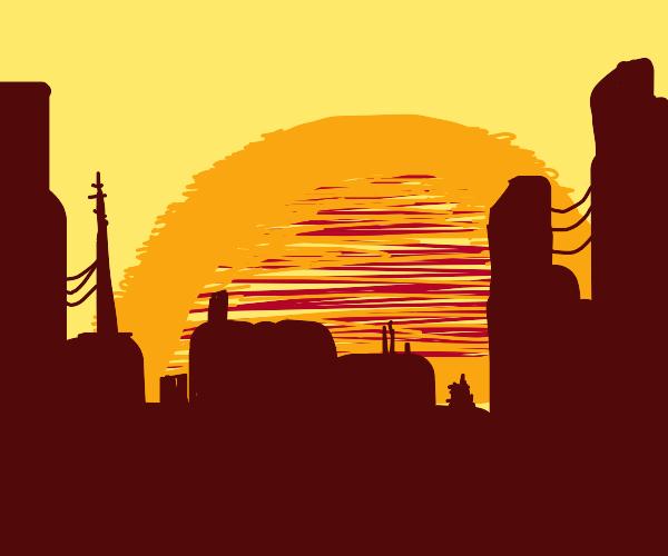 beautiful city landscape with sunset