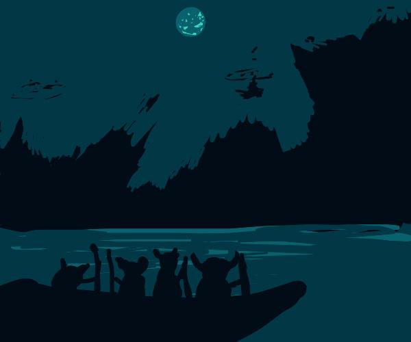 a Viking longship at sea at night