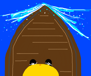 1st person view of shirtless Homer on a boat