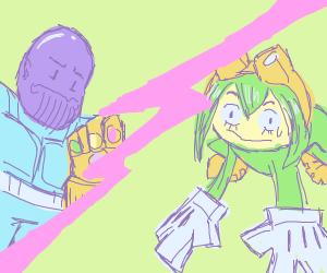 Tsuyu Asui fights Thanos.