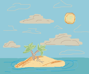 Little island in the ocean