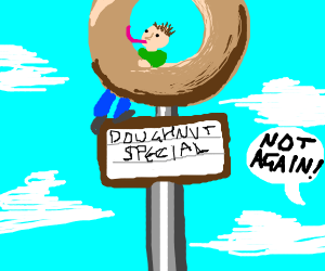 Man eats donut sign again