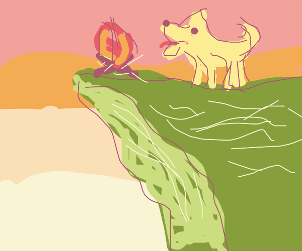 Dog barking at a campfire on a cliff