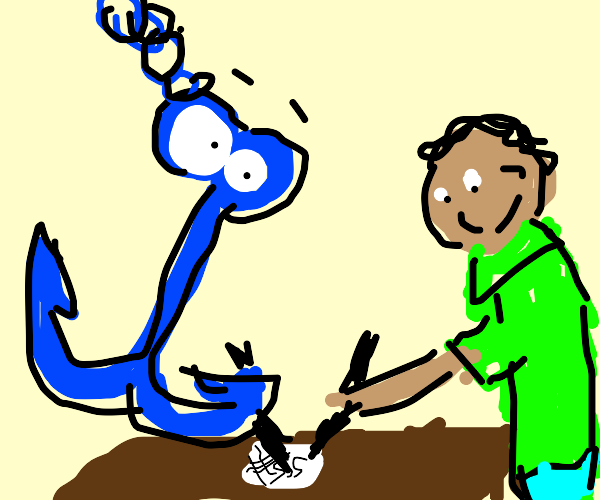 An anchor signing paperwork with someone