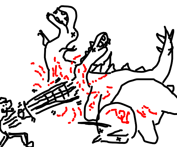 Man stabs dinosaurs