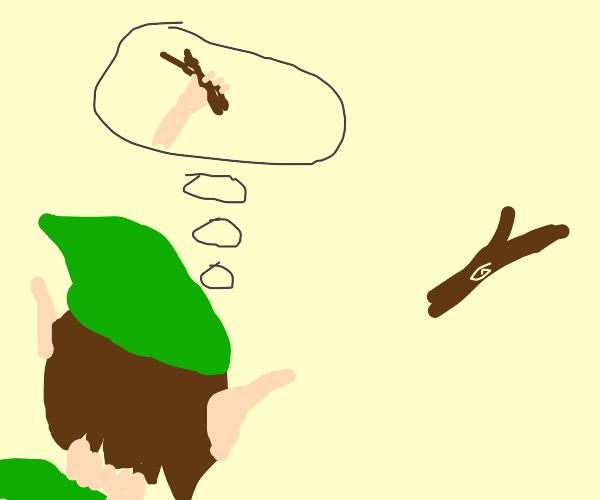 Elf looks at a stick retrospectively