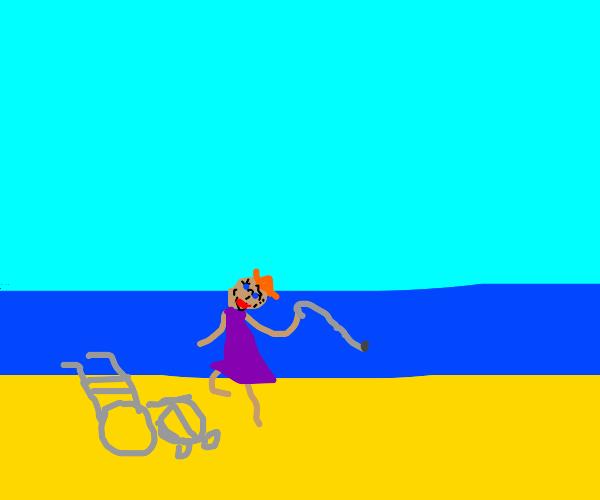 Grandma dancing at the beach