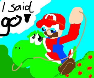 Mario forcefully riding yoshi