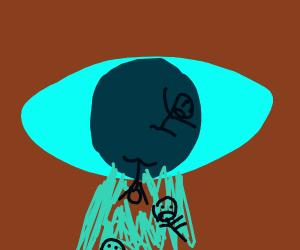 A man drowns in a giant eye