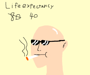Smoker lowers life expectancy to look cool