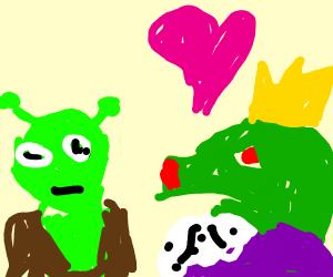 Princess dragon falls in love with shrek