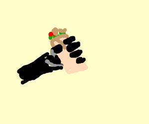 Hand grabbing a taco