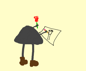 Stone is drawing a rose