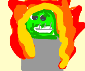 Eyeore setting Oscar the Grouch's bin on fire