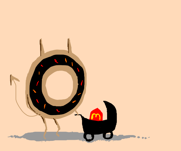 evil donut pushes a happy meal