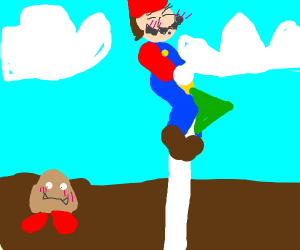 Mario straddling the end flag