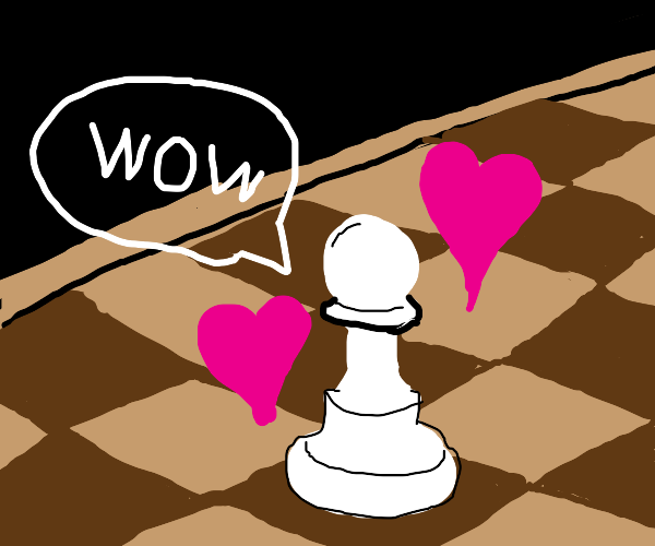 wow says chess pawn with hearts