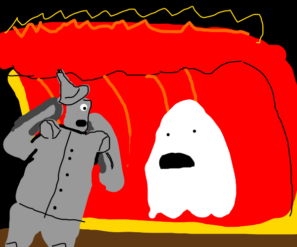 The tin man and a ghost get hit by lava wave