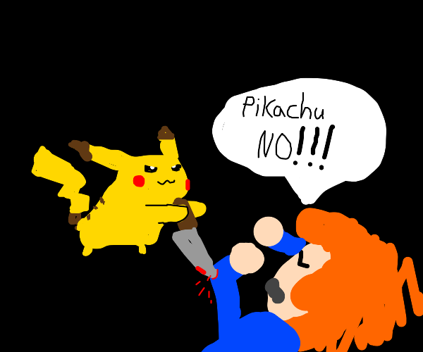 Crazed Pikachu About to Stab Woman