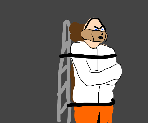 insane man restrained by straight jacket :o