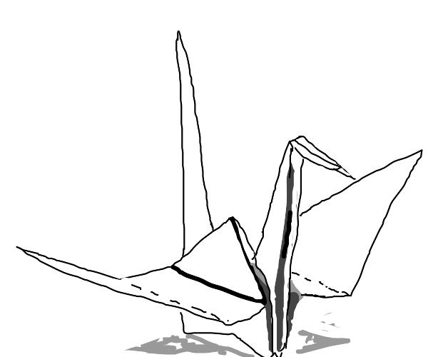 white origami crane
