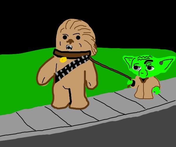 Yoda and Chewbacca taking a walk