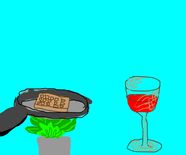waffle on green fire and a brown wine glass