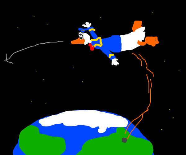 donald duck launched into orbit