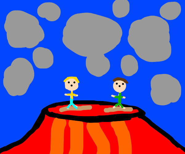 two people on logs in lava