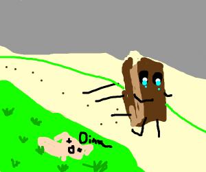 Sick pig dies while a brownie runs away cryin