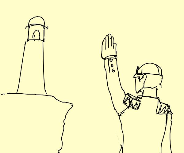 a prince waves hello to a lighthouse