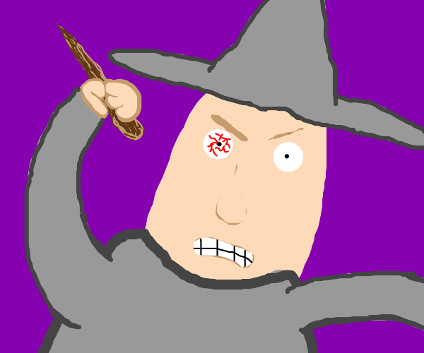 Wizard with bloodshot eye
