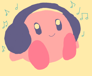 Cute Kirby listens to music with headphones