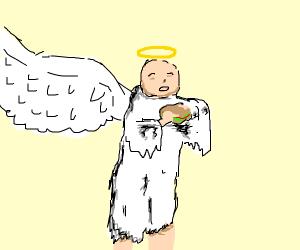 angel eating a sandwich