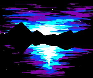 Artist painting sunset