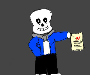 Sans gets an A+ on his essay