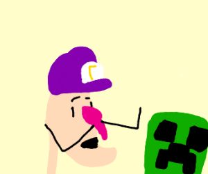 waluigi about to be blown up by creeper
